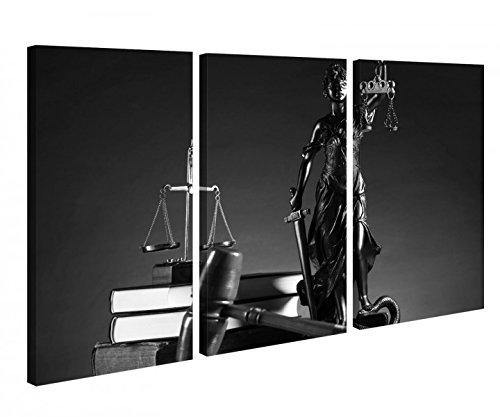 Leinwandbild 3 Tlg Anwalt Symbol Justitia Hammer Gerichtssaal Schwarz weiß Leinwand Bild Bilder Holz 9P1057, 3 tlg BxH 120x80cm (3Stk 40x 80cm)