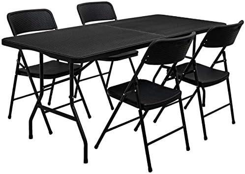 AMANKA Set di Mobili Giardino – Tavolo da 180 cm con 4 Sedie Gruppo di Seduta Pieghevole Rattan Look
