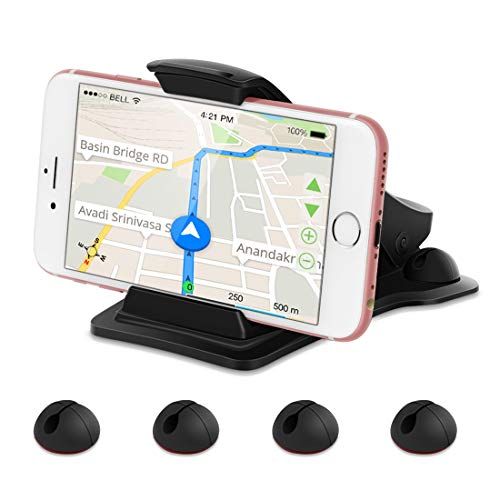 Car Phone Mount, Leelbox Phone Holder for Car Dashboard Cell Phone Holder Mount Stand with 5 Cable Clips and Strong Sticky Pads Universal for 3-6.5 inch Smartphone or GPS Devices - Black
