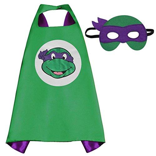 FIGMOON Superhero Cape and Mask, Children Gift, Boys/Girls Dress Up Costume (3D Fallout 4 Key Chain As Free Gift For Children) (Donatello Ninja Turtle
