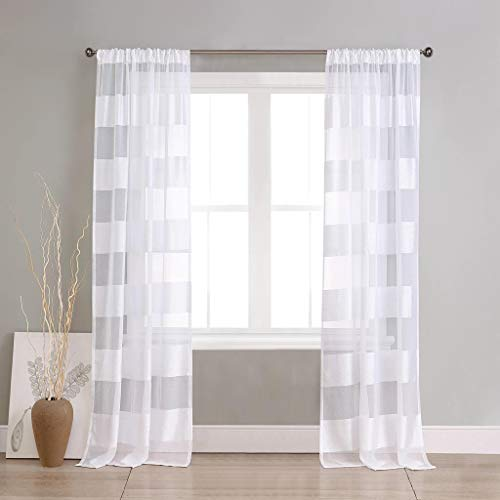Home Maison - Capri Faux Line Striped Pole Top Window Curtains for Living Room & Bedroom - Assorted Colors - Set of 2 Panels (37 X 112 Inch - White)