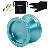 T Tocas Magicyoyo Responsive Beginners Yoyo Ball Bearing MAGICYOYO V6 LOCUS Space Aluminum Metal Yoyos Ball for Learner Kids with Bag Glove 5 Strings Blue