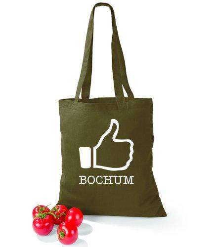 Artdiktat Baumwolltasche I like Bochum Olive Green