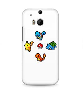8 Bit Pixel Pokemons Pikachu Squirtle Bulbasaur Charmander Pokeball Hard Plastic Snap-On Case Cover For HTC One M8