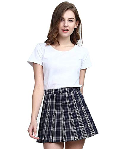 Check Mini Skirt - Clarisbelle Women High-Waisted Pleated Mini Skirts with Soft Shorts Underneath (S, Navy Blue Checks)