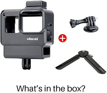 ULANZI V2 Vlogging Case w Tripod for Gopro Handheld Protective Housing Case Vlogging Frame Cage Mount with Microphone Cold Shoe Adapter Compatible for GoPro 7 6 5 Action Camera Accessories