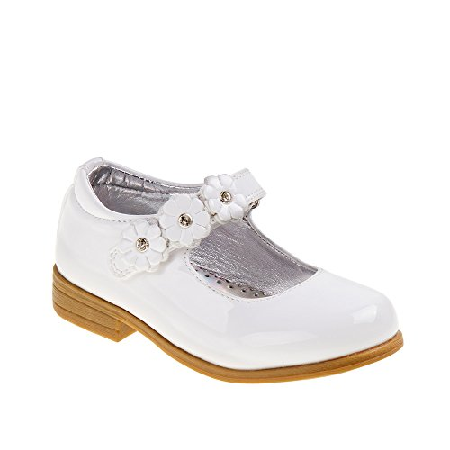 Laura Ashley Girls' Madeline Mary Jane Flat, White Patent, 7 Medium US Toddler