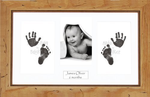 Anika-Baby BabyRice Baby Hand and Footprints Kit includes Black Inkless Prints/ Rustic Wooden Frame with White Mount Display by Anika-Baby by Anika-Baby