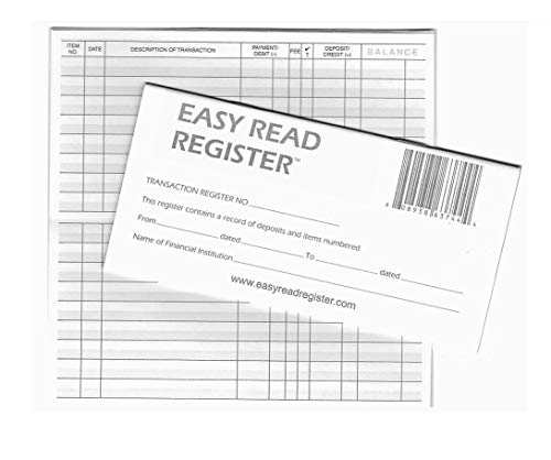Easy Read Register 10 Checkbook Registers - 32 Pages with 510 Lines - 2019/20/21 Calendars