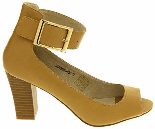 Footwear Studio Elisabeth Womens Faux Leather Peep-Toe Court Shoes Size 3 4 5 6 7 8 Beige G1d20eM