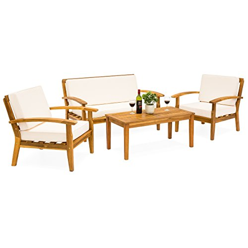 Best Choice Products 4-Piece Patio Acacia Wood Sofa Set w/Water Resistant Cushions - Cream