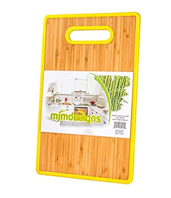 Organic Bamboo Cutting Board, Eco friendly with Colorful Yellow TPR Plastic Trim, Cut out Handle, Double Sided Antibacterial Slicing Surface for Home Kitchen Food Prep. Enjoy Easy Chopping!