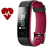 Kinbom Fitness Tracker, Heart Rate Monitor Color Screen Smart Bracelet With Sleep Monitor, Step Counter, Message Reminder, IP68 Waterproof Activity Tracker for Android&iOS Smart Phone (BlackRed)