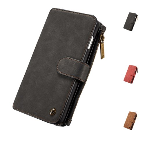 E8Q alta calidad desprendible de la cremallera del tirón del cuero Tarjeta de la cartera cubierta Caso para iPhone 7 negro