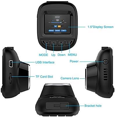 Milaloko C/ámara para salpicadero de Coche Full HD, 1080P y 168/°de Gran Angular, F5, grabadora de conducci/ón con grabadora Loop, Sensor G y detecci/ón de Movimiento, DVR para Coche