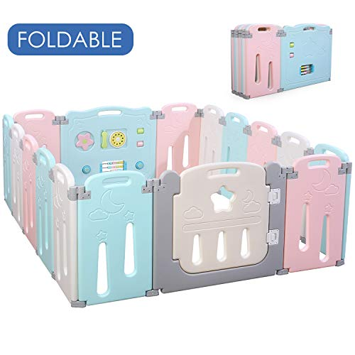 - POTBY Foldable Baby Playpen 16 Panel Activity Center Safety Playard with Lock Door,Kid's Fence Indoor Outdoor,Free Installation,Double Layer Clasp and Anti-Slip Base for Children 10 months~6 Years Old