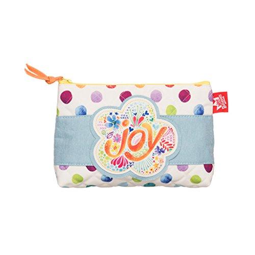 Joy Flower Watercolor Dot Medium Quilted Zipper Accessory Pencil Case (School Spirit Clothing Ideas)
