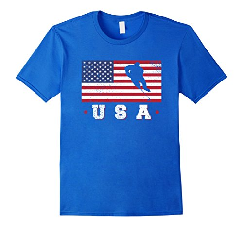 fan products of Mens American USA Flag Ice Hockey T-Shirt Patriotic Sports Gift Small Royal Blue