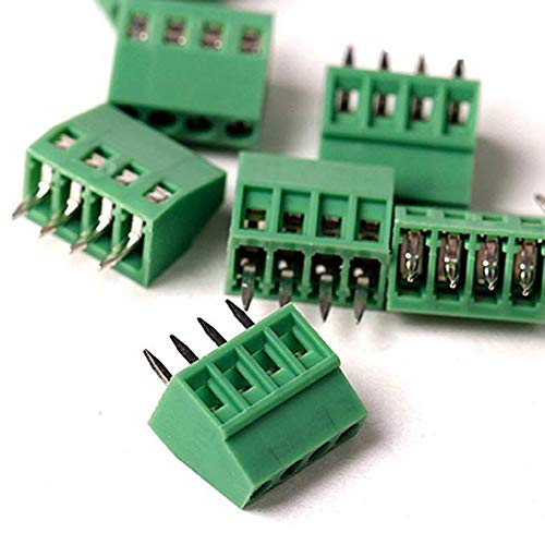 TOUHIA 2.54mm Pitch 4-Pin PCB Screw Terminal Block Connector, Rated 150V 6A (20pcs)