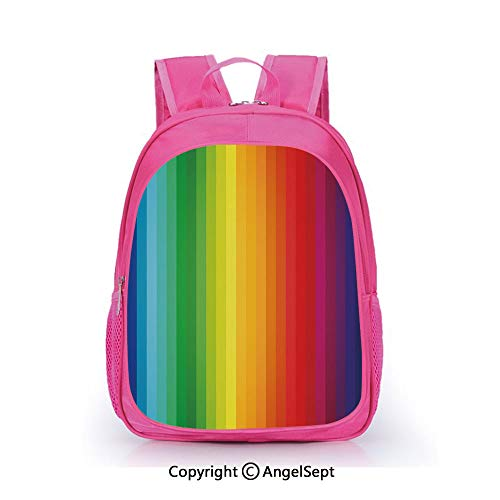 Hot Sale Backpack Casual Daypack,Rainbow Inspired Vertical Lines Pattern Spectrum of Colors Abstract Art Palette Decorative Multicolor,15.7inch,Travel Outdoor Backpack For Boys And Girls
