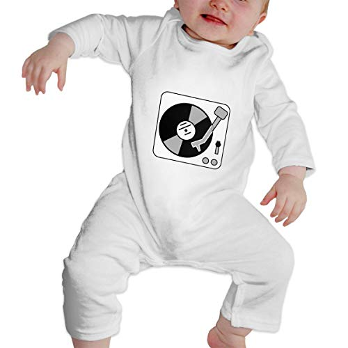 (Crazy Popo Unisex Baby Turntable Music Vinyl Record Dj Long Sleeve Romper Baby Clothes Outfits)