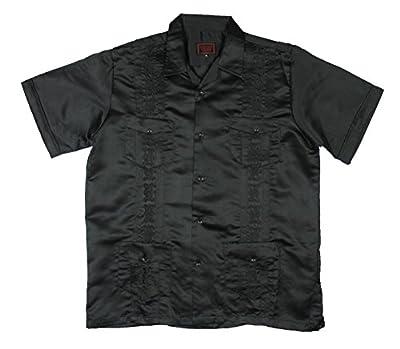 New Guayabera Men's Cuban Style Bartender Wedding Dress Shirt / Black Shinny