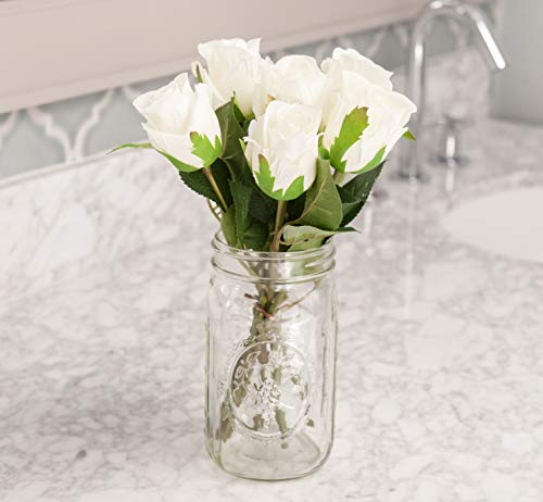 - Moby Goods - 6 Premium Artificial Silk Roses in White for Decorating, Weddings, Bouquets, Centerpieces