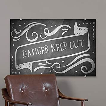 CGSignLab 5-Pack 18x12 Danger Keep Out Chalk Banner Premium Brushed Aluminum Sign