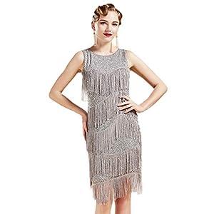 BABEYOND 1920s Flapper Dress Gatsby vestido con fleco