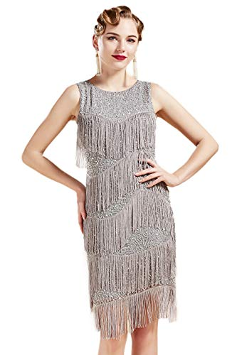 BABEYOND 1920s Flapper Dress Gatsby Fringed Dress Roaring 20s Beaded Dress Art Deco Dress for Gatsby Themed Party Prom (Gray, Medium)]()