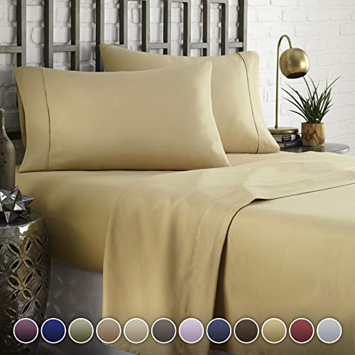 HC COLLECTION Hotel Luxury Comfort Bed Sheets Set, 1800 Series Bedding Set, Deep Pockets, Wrinkle & Fade Resistant, Hypoallergenic Sheet & Pillow Case Set(King, Camel Gold) (Luxury Bedding Gold)