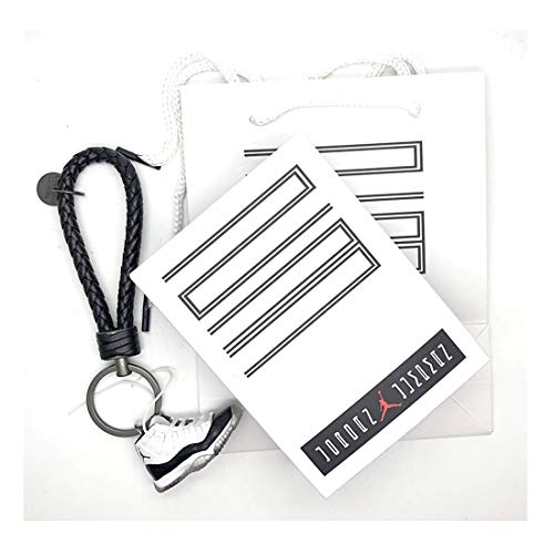 6056daf1caf0c AJ #11 1:6 Scale Black White Cement Varsity Gamma Supreme Concord Space Jam  3D Keyring keychain with packaging & accessories