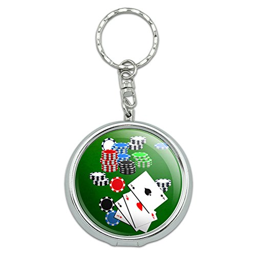 Graphics and More Portable Travel Size Pocket Purse Ashtray Keychain Gambling Track Cards Poker - Poker Aces Cards Chips (Poker Key)