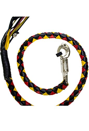 Dealer BIKER BLACK YELLOW RED 40'' LEATHER GET BACK WHIP MOTORCYCLE WHIP OLD SCHOOL by Dealer (Image #3)