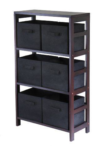 Winsome Wood Capri Wood 3 Section Storage Shelf with 6 Black Fabric Foldable Baskets