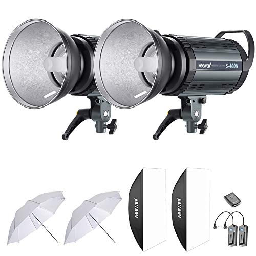 Neewer 800W Studio Strobe Flash Photography Lighting Kit:(2)400W Monolight,(2) Reflector Diffuser,(2) Softbox,(2)33 Inches Umbrella,(1) RT-16 Wireless Trigger for Shooting Bowens Mount(S-400N)