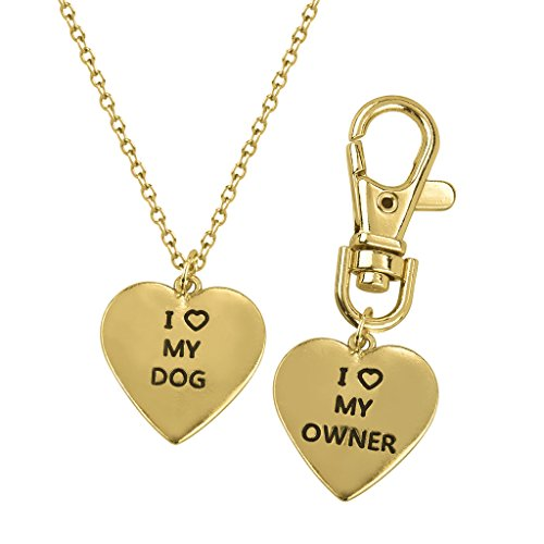Lux Accessories i Love My Dog Matching Tag Collar Keychain Heart -