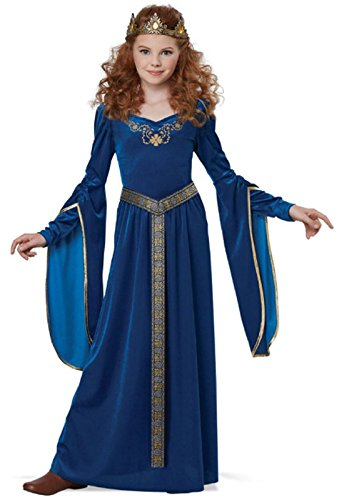 California Costumes Queen, Royalty, Renaissance, Knight Medieval Princess Girls Costume, Teal, Large]()