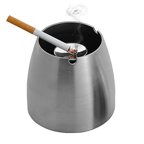 Ashtray,LOYMR Stainless Steel Unbreakable Modern Ashtray , Cigarette Ashtray for Indoor or Outdoor Use, Ash Holder for Smokers, Desktop Smoking Ash Tray for Home office Decoration, Silver (Stainless Steel Ashtray compare prices)