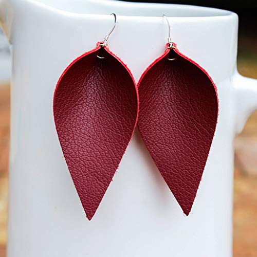 Genuine Leather & Sterling Silver Leaf Earrings // Dark Red (Oxblood) // Joanna Gaines Inspired