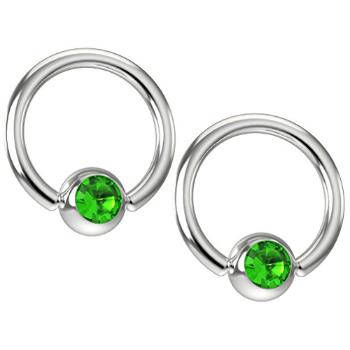 Crystal Peridot Ring Swarovski (2pc 16g Captive Bead Ring Earrings CZ Peridot Green Swarovski Crystal 8mm 5/16 Gem Piercing Jewelry)