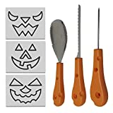 THE TWIDDLERS 3 Piece Halloween Stainless Steel Carving Kit for Pumpkins - Premium Quality, Includes 12 Stencils