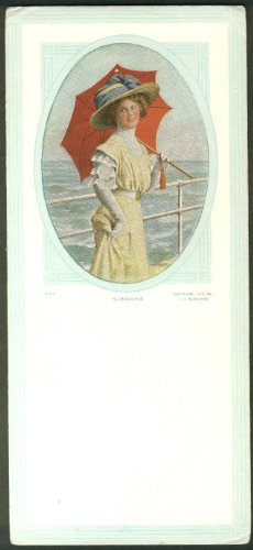 (Sunshine pretty-girl with parasol on boardwalk advertising blotter blank 1910)