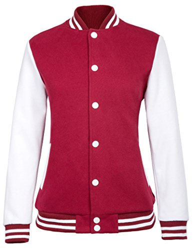 Uniform Varsity - Women's Street Style Baseball Uniform Coat Bomber Jackets (M,Red 717)