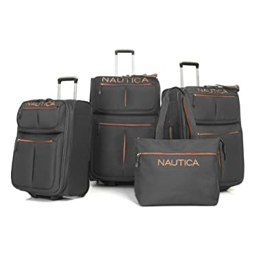 Nautica Luggage In-line Skate Four Piece Set, Grey/Orange, One Size