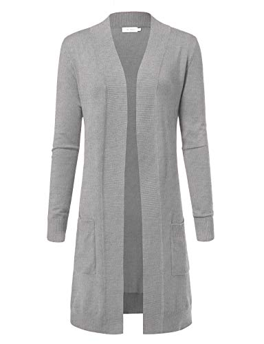 Ribbed Long Cardigan - ARC Studio Women's Solid Soft Stretch Longline Long Sleeve Open Front Cardigan S Heather Grey