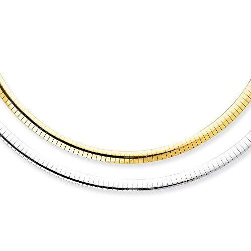14k 5mm Reversible White & Yellow Domed Omega - Necklace 14k Gold Omega White