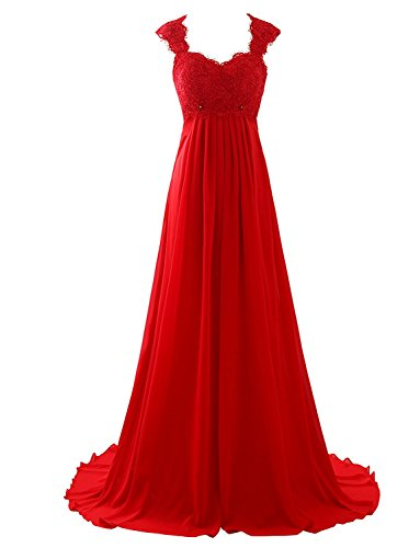Erosebridal Chiffon Long Evening Party Gowns For Women Beach Wedding Dress Gowns Size 22w Red