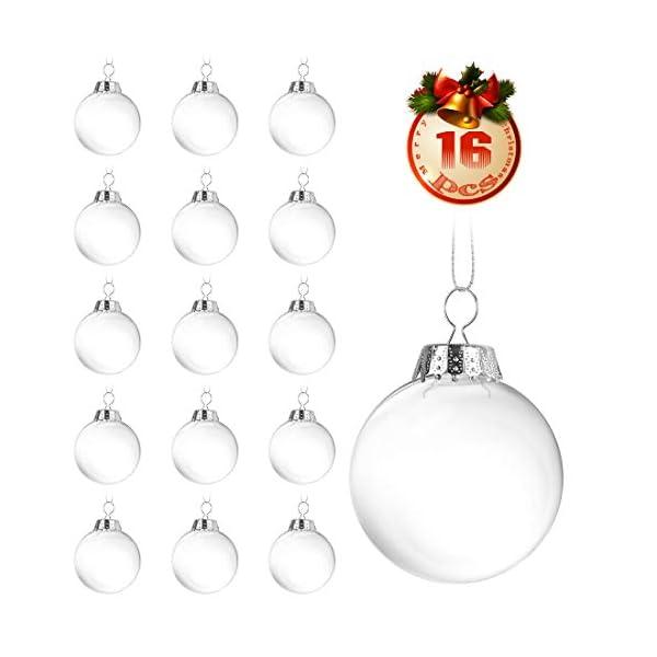 O-Kinee Palle di Natale Trasparenti,16 PCS Palle di Natale Palline Riempibili,Decorazione Natalizia Albero Natale,Decorazione Albero di Natale,per la Festa Compleanno Decorazioni di Nozze (16pcs) 1 spesavip