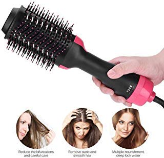 One Step Hair Dryer & Volumizer,Hot Air Brush Styler and Dryer 3-in-1 Negative Ion Straightener&Curly Brush Hair Dryer with Comb for All Hair Type with Anti-Scald Feature
